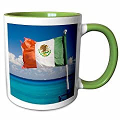 Mexico, Quintana Room, Cozumel, playa de Carmen, Flag - SA13 JEG0782 - Julie Eggers mug is available in both 11 oz. and 15 oz. Why drink out of an ordinary mug when a custom printed mug is so much Cooler? this ceramic mug is lead free, microw...