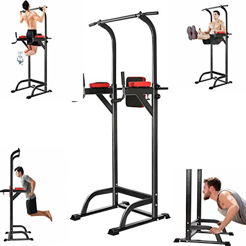 Garain Multi-Functional Power Tower Station, Adjustable Height Workout Standing, Push-Up Pull-Up Station for Home Gym Fitness (US Stock) by Garain