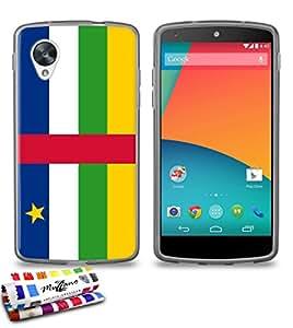 Carcasa Flexible Ultra-Slim GOOGLE NEXUS 5 de exclusivo motivo [Bandera Centro de Africa] [Gris] de MUZZANO  + ESTILETE y PAÑO MUZZANO REGALADOS - La Protección Antigolpes ULTIMA, ELEGANTE Y DURADERA para su GOOGLE NEXUS 5