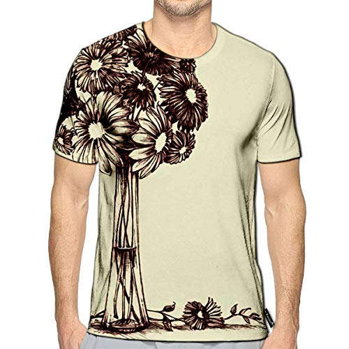 Doodle God Dolphin (Randell 3D Printed T-Shirts Vase of Flowers Wedding Bouquet Sketch Retro Style Short)