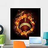 Wallmonkeys Football in Hot Fire Flames Wall Decal Peel and Stick Graphic WM135760 (24 in H x 24 in W)