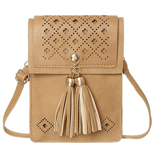 Crossbody Brown Cell Texture Purse Tassels Small Wallet Phone With Women Bags Hollow qqPxf1Un