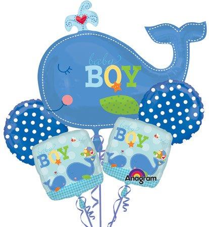 Amazon.com: AHOY BABY BOY Whale 5 Balloon Bouquet Kit   Baby Shower:  Kitchen U0026 Dining