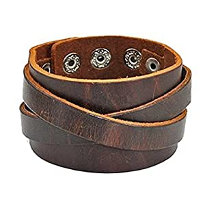 Cherryzz Real Leather Cuff Women Leather Bangle Bracelet, Men Leather Cuff Bracelet, Wide Belt bracelet