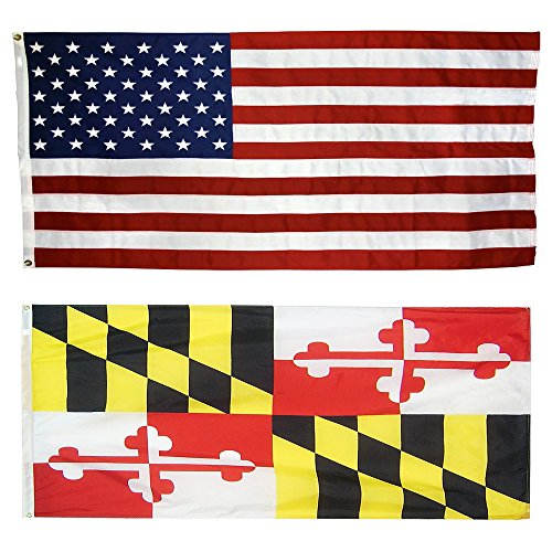 US Flag with Maryland State Flag 3 x 5 – 100% American Made – Nylon For Sale