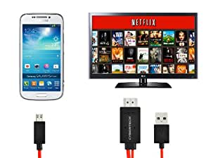 Cybertech MHL Micro USB to HDMI HDTV Adapter for Samsung Galaxy Note 2 3 4 - 2 Meters Extra Long Cable (Charge Your Phone While Watching HD Video)