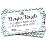 50 Diaper Raffle Tickets Blue Elephant Theme - Boy Chevron Baby Shower Game Activity
