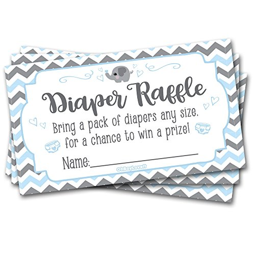 50 Diaper Raffle Tickets for Baby Shower Elephant (Blue, Grey) Theme - Boy Chevron Baby Shower Game Activity
