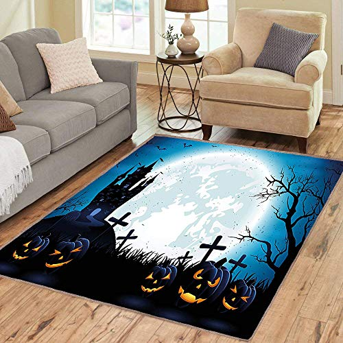Rug,FloorMatRug,Halloween ations,AreaRug,Spooky Concept with Halloween Icons Old Celtic Harvest Festival Figures in Dark Image,Home mat,5'x6'Petrol Blue Fern -