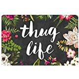 Thug Life Flowers Doormat Entrance Mat Floor Mat Rug Indoor/Outdoor/Front Door/Bathroom Mats Rubber Non Slip Custom Doormate Large 18 x 30-Inch