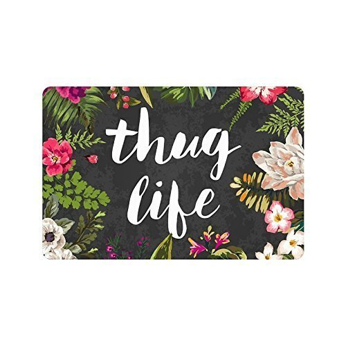 Thug-Life-Flowers-Doormat-Entrance-Mat-Floor-Mat-Rug-IndoorOutdoorFront-DoorBathroom-Mats-Rubber-Non-Slip-Custom-Doormate-Large-18-x-30-Inch