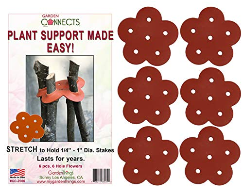 Garden Things PLANT SUPPORT MADE EASY Stretch Rubber Plant Stake Connecters, 6-Pack, Model:GC-2006