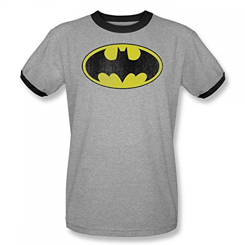 Batman+Retro+Shirts Products : Warner Bros. Men's Batman Retro Bat Logo Heather Gray Ringer Graphic Tee T-Shirt