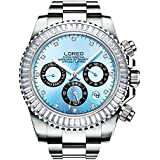LOREO Mens Automatic Mechanical Multifunction Stainless Steel Sapphire Crystal Waterproof Blue Watch 40MM
