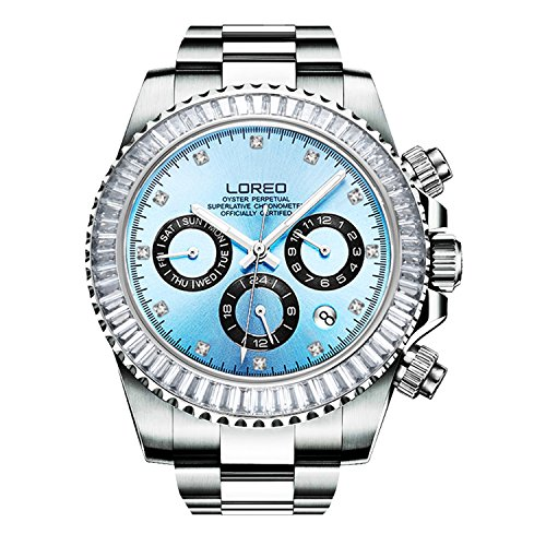 Stainless Steel Sapphire Crystal - LOREO Mens Automatic Mechanical Multifunction Stainless Steel Sapphire Crystal Waterproof Blue Watch 40MM