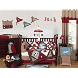 Sweet Jojo Designs All Star Sports Red, Blue and Brown Baby Boy Bedding 9pc Crib Set
