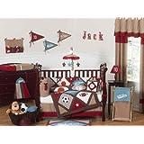 Sweet Jojo Designs 9-Piece All Star Sports Red, Blue and Brown Baby Boy Bedding Crib Set