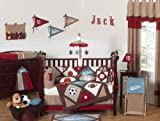 Sweet Jojo Designs 9-Piece All Star Sports Red, Blue and Brown Baby Boy Bedding Crib Set