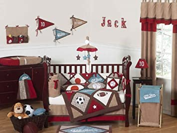 Sweet Jojo Designs 9 Piece All Star Sports Red Blue And Brown Baby Boy