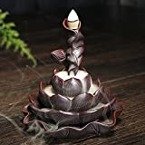 Gift Pro Incense Smoke Flow Backflow Holder Lotus Ceramic Backflow Incense Tower Burner Statue Figurine Incense Holder Incenses Not Included (Style 15)