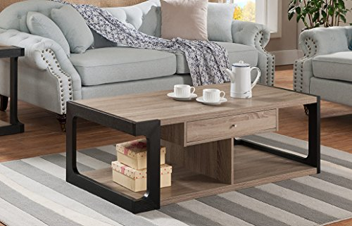 151224CT Smart Home Adeline 2-Toned Coffee Table (Drawers Table With Coffee Wooden)