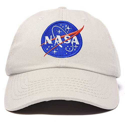 (DALIX NASA Hat Soft Baseball Cap Embroidered Space Meatball Logo in Beige)