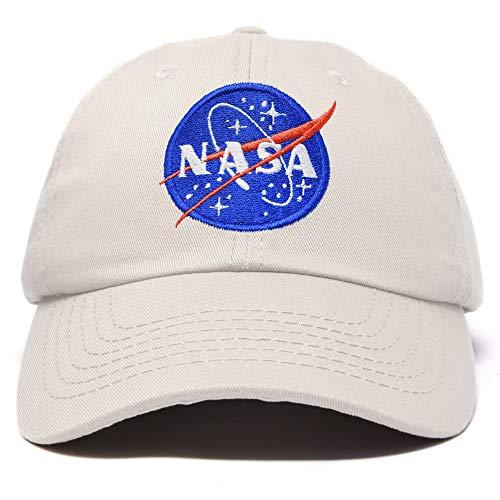 DALIX NASA Hat Soft Baseball Cap Embroidered Space Meatball Logo in Beige (Cap Ball Ship Rocket)