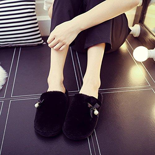 Attlati Elegante Bowknot Pantofole Casa Morbide Donne Incinte Antiscivolo Caldo Peluche Faux Pearl Scarpe Nere