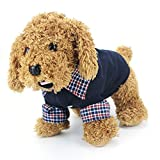 Cotton Grid Pet Cat Clothing Puppy Warm POLO T-Shirt Sweater Dog Coat (S, Navy Blue)