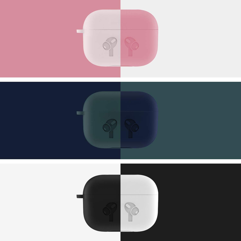 AirPods Pro Hülle, Silikon Schutzhülle Kompatibel mit Apple AirPods Pro - AMIGIK Ultradünnes Case mit Vordere LED Sichtbarer Unterstützt kabelloses Laden, Schwarz