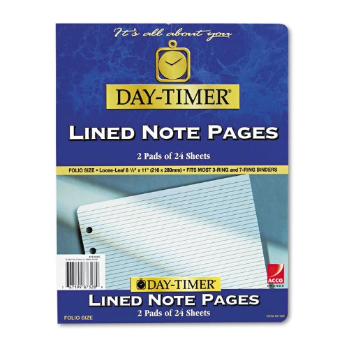 Lined Note Pads for Organizer, 8-1/2 x 11, 48 - Lined Notes Timer Day
