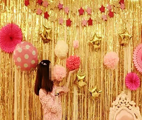 Blukey 2 Packs Foil Fringe-Backdrop-Gold-3FTX8FT Metallic Door Window Curtain Tinsel Party/Birthday/Wedding/Prom Decoration (Gold) -