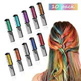 Hair Dye Chalk Comb Temporary Color for Kids,Women,Girls Party,Non Toxic Washable Hair Dyeing Coloring,10 Colorful Pet Hair Dye Kit,Gift For Birthday or Festival (10 colors)