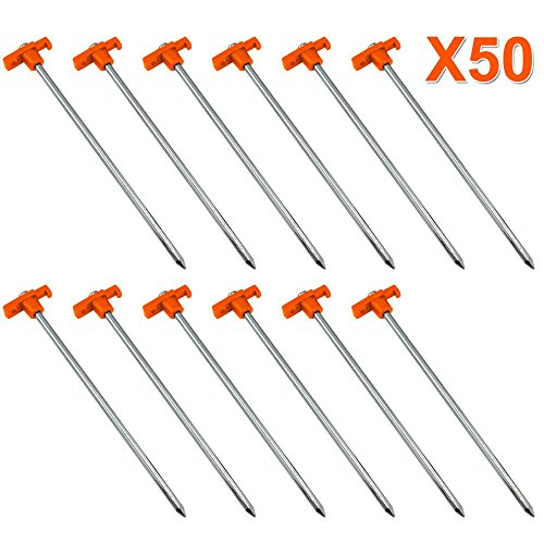Yaheetech 50pcs 10″ Outdoor Tent Stakes Pop up Canopy Camping Tent Pegs Hard Ground Nails Garden Gazebo Accessories