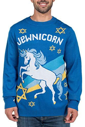 (Men's Funny Hanukkah Sweater - Jewish Unicorn Holiday Sweater: XX-Large)