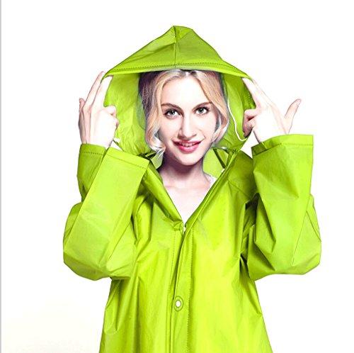 Zcx Raincoat Lady Outdoor Fashion Transparent Raincoat Adult Long Scrub Raincoat (Color : Green, Size : M)