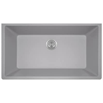 Bon 848 Large Single Bowl Quartz Kitchen Sink, Silver, No Additional Accessories