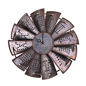 Rustic Metal Windmill Wall Clock, NALAKUVARA Silent Non Ticking Wall Clocks  Large Decorative   Vintage Antique Conuntry Farm Home Farmhouse Decor    Quality ... Part 83