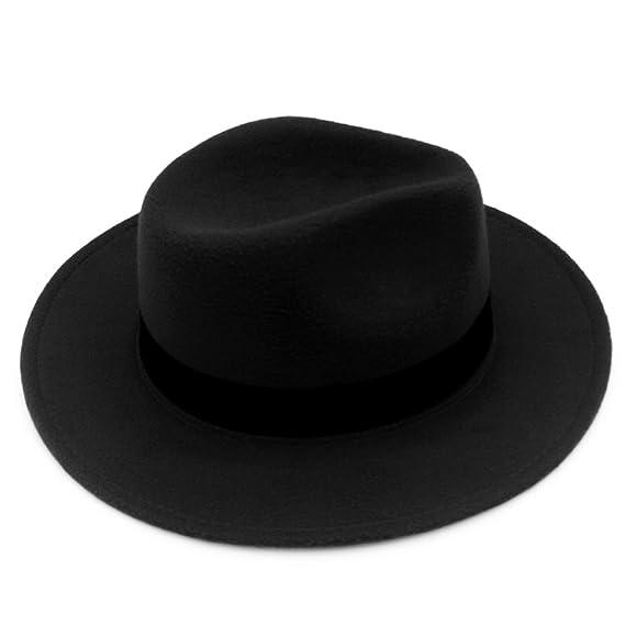 0e9952ed2a6191 Norboe NE Women's Wide Brim Elegant Luxury Panama Fedora Hat Wool Cap with  Strap (Black