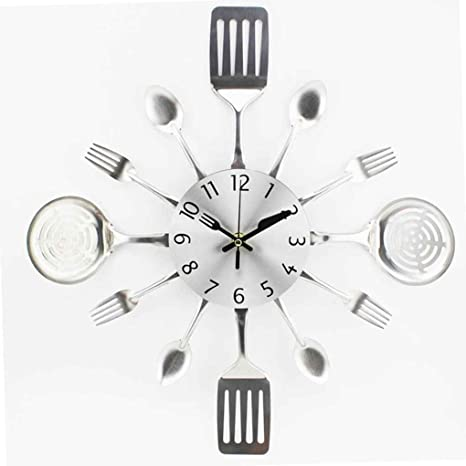 Lorsoul 3D extraíble Moderna Cubiertos, Cocina Tenedor Cuchara Reloj de Pared Tatuajes de Pared Espejo