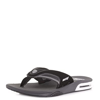 971bf08b52e4 Mens Reef Fanning Black White Flash Toe Post Flip Flop Sandals SIZE 14   Amazon.co.uk  Shoes   Bags