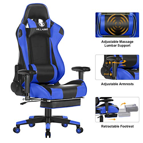(KILLABEE Big and Tall 350lb Massage Memory Foam Gaming Chair - Adjustable Massage Lumbar Cushion, Retractable Footrest and 2D Arms High Back Ergonomic Racing Computer Desk Leather Office Chair (Blue1))