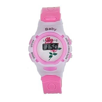 Tongshi Colorido Niños Niñas Estudiantes Tiempo Electrónico Digital reloj de pulsera Deporte(Rosa)