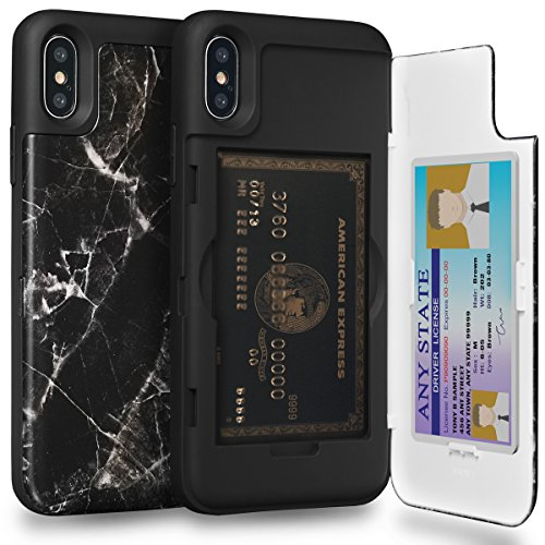 TORU CX PRO iPhone Xs Wallet Case Pattern with Hidden Credit Card Holder ID Slot Hard Cover & Mirror for Apple iPhone Xs (2018) / iPhone X (2017) - Black Marble