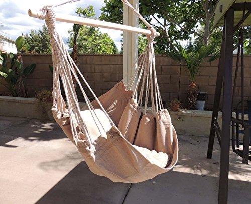 Amazon.com : Hammock Chair Hanging Rope Chair Porch Swing Outdoor Chairs  Lounge Camp Seat At Patio Lawn Garden Backyard Tan : Patio, Lawn U0026 Garden