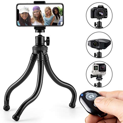 Phone Tripod, Flexible Cell Phone Tripod Adjustable Camera Stand Holder with Wireless Remote Control and Universal Clip 360° Rotating Mini Tripod Stand for iPhone, Android Phone, Sports Camera ()
