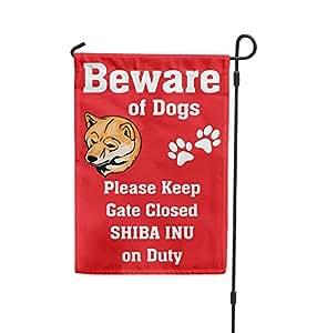 Cuidado de perro Shiba Inu on duty Patio Patio Casa Banner bandera de Jardín hierro juego