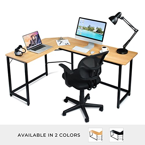 L Shaped Office Computer Desk – Beige Laminated Wooden Particleboard Table and Black Powder Coated Steel Frame - Easy Assembly - CPU Stand, Tools and Instructions Included – by Luxxetta by Luxxetta