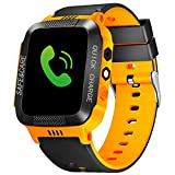 Kids Smart Watches with GPS Tracker Phone Call for Boys Girls from ELE, Digital Wrist Watch, Sport Smart Watch, Touch Screen Cellphone Camera Anti-Lost SOS Learning Toy for Kids Gift (Orange&Black)