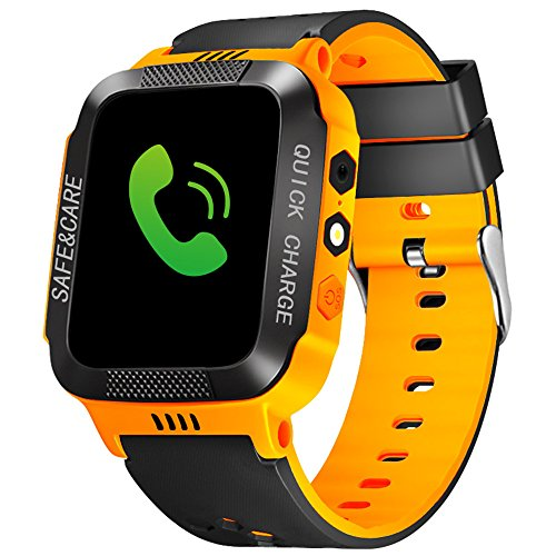 - cjc Kids Smart Watch Phone, Waterproof Children GPS Tracker Safety SmartWatch 3-12 Year Old Girls Boys Toys Gift SOS Call Pedometer Camera Touch Screen Game Bracelet - Orange